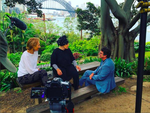 Janet Hawley, Wendy Whiteley, and James Valentine in Wendy's garden in Lavendar Bay